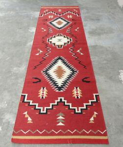 Large Wool Kilim Navajo Southwestern Bohemian Runner Rug 4x10 ft Handmade Rug