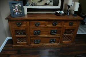 SOLID WOOD STORAGE BUFFET CABINET WITH DRAWERS