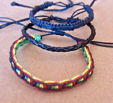 3 BRACELET BLACK COTTON HEMP CORD RASTA ANKLET FRIENDSHIP WRISTBAND mens women
