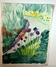"""19"""" Vintage Abstract Watercolor Painting Landscape w/ Flowers and Creek Art"""