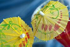 YELLOW COCKTAIL OMBRELLO bere decorazioni (giallo cocktail OMBRELLI) x 50