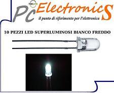 LED BIANCO 10 pezzi Diodi 3mm alta luminosita + 10 resistenze per utilizzo 12V