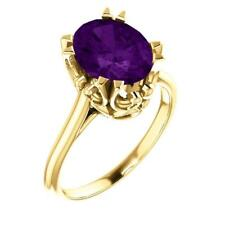 14K Yellow Gold Amethyst Solitaire Ring Size 7