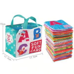 Flashcards Learning Language Baby Book Toy 26PCS Soft Alphabet Cards Cloth Bag
