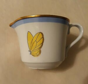 Vintage Rorstrand Adelborg Creamer Cup, Blue w Gold Trim & Yellow Butterfly
