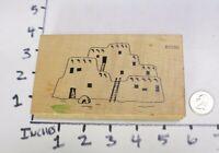 Wood RUBBER STAMP Block Southwest Desert Pueblo Adobe House Home