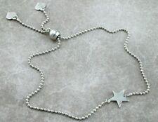 Plata esterlina 925 Estrellas & Corazones Pulsera Ajustable Deslizador Cadena de cuentas