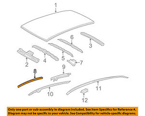 61212-52160 Toyota Rail, roof side, outer lh 6121252160