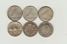 6 Canada Silver Ten Cents 1899 to 1967