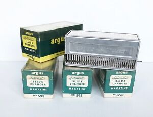 """Lot of 5 Argus 2""""x 2"""" Automatic Slide Changer Magazines - Hold 36 Slides Each"""
