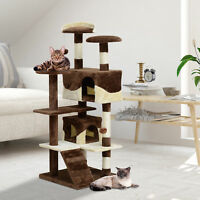 """52"""" Cat Scratching Tree Large Kitten Play House Pet Multi-Level Activity Center"""