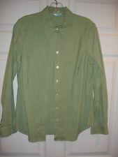 Izod blouse size M Medium LS EUC button down green and blue stripe