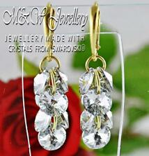925 Silver Gold Pl.Earrings Crystals From Swarovski® XILION RIVOLI - Crystal Cal