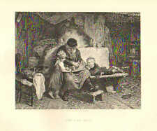 The Bird Trap, by K. Grob, Father, Children, Family Scene, 1879 Antique Print,
