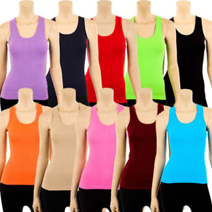 Womens Ribbed Racerback Tank Top Stretch Basic Cami Workout Sport OS Fits