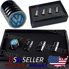 VW Logo Valve Caps Volkswagen Stem Covers Chromed Emblem Wheel Tire Golf GTI R32