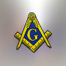 Masonic Patch — Iron On Badge Embroidered Motif — Mason Freemason Compass Square