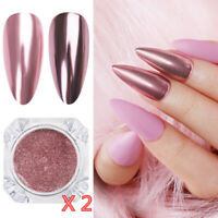 2Boxes Rose Gold Mirror Glitter Nail Art Powder Dust Pigment Chrome Metallic Kit