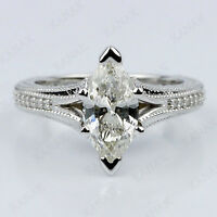 1.50CT Marquise Cut Diamond Engagement Ring 14K White Gold Over