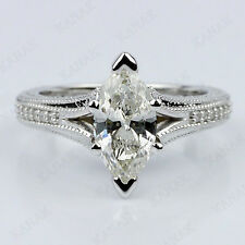 1.50 Ct Diamond Marquise Cut Engagement Wedding Ring 14K White Gold Over