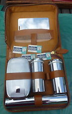 vintage leather hide shaving kit  chrome & bakelite Gillette blades advertising
