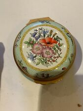 Halcyon Days small blue Trinket Box with flowers in good condition
