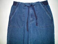 NWT NEW womens size S denim blue ramie blend capris jeans pants