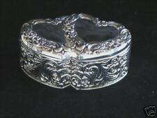 Aphrodite Double Heart Jewelry Box  Silver Plate