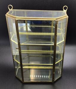 "Vintage Brass 3 Shelf Glass & Mirror Curio Cabinet Wall Display Case 8""x6""x3"""