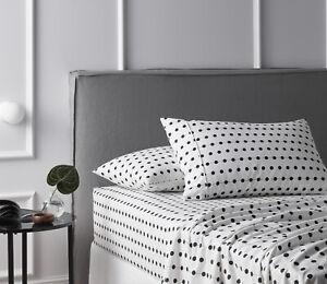 Black & White Dots 100% Cotton Flannelette Sheet Set - Queen Bed