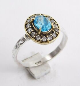 2.40 Gm B T C Z 925 Solid Sterling Silver Two Tone Ring Gemstone Us7.75 M-248