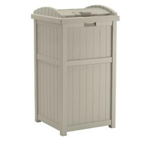 Suncast 33 Gal. Resin Taupe Outdoor Trash Can Hideaway Plastic Container Bin