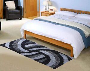 Black & Gray Floral Modern Carpet Of Polyester Blend Of 2 x 3 Ft For Home Decor