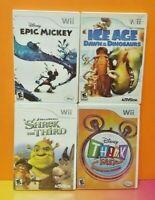 Nintendo Wii & Wii U Disney Game Lot Ice Age Shrek Epic Mickey Disney Think Fast