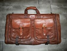 Vintage L.L. Bean Leather Shoulder Tri-Fold Garment Clothes Luggage Travel Bag