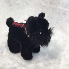 "Russ Berrie SHADOW Black Plush Scottish Terrier Scottie Dog 7"" with plaid scarf"