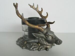 Antique 1907 Sengbusch Self Closing Elk / Stag Metal & Glass Inkwell