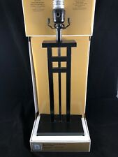 "Black Iron Squares Lighting Table Lamp 24.8"" Tall Resin Base"