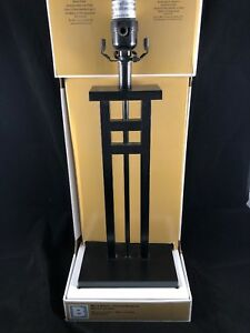 "Black Squares Lighting Table Lamp 24.8"" Tall Resin Base"
