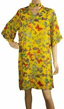 ConMiGo A001255 yellow butterfly and flora printed silk crepe de chine mini dres