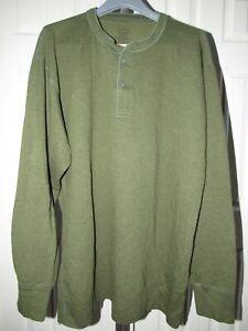NEW LL Bean Green Cotton Wool Blend River Driver Henley Shirt XXL Tall