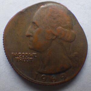 US 1969 25¢ Washington Quarter Off-Center Struck Error Coin