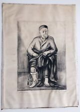 """Saul Rabino Signed Lithograph """"Old Man"""" 11 by 16 Seated Jewish Scholar"""