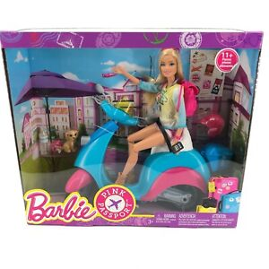 Barbie Doll Pink Passport with Scooter and Accessories 2015