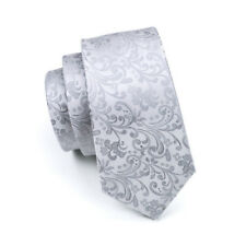 IVAN TROY Silver Floral Italian Jacquard Woven Silk Ties Set With Cuflinks