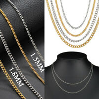 Stainless Steel Gold Silver Plated Plain Cuban Necklace Chain Women Men Jewelry