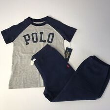 Polo Ralph Lauren Boys Sz 4, 5 Pants & T-Shirt Set/Outfit Fleece Pants Navy