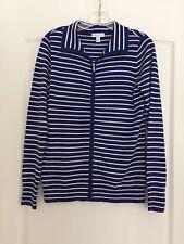 Charter Club Woman's Stretch Zipper Jacket - Riyal/White Striped - Medium