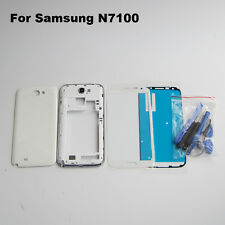 White case middle frame battery door cover front glass lens galaxy note 2 n7100