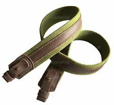 Green Canvas Leather Wide Rifle Sling Shotgun Air Gun Strap Hunting Shooting